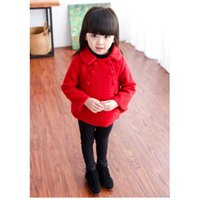 baby doll jacket - 20116 children new winter Korean female baby doll collar double breasted jacket windbreaker jacket
