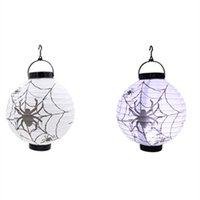 battery led lights paper lanterns - 2 pack Halloween props venue Jack O Lantern luminous paper lantern festival lighting skull spider holiday lighting battery powered