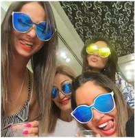 al por mayor marcos frescos para las gafas-nuevo diseñador de gafas de sol mujeres Irresistor modelo 008 manera de la lente espejo redondo refrescar la lente marco de los vidrios del cordón de titanio brillante estilo polarizado