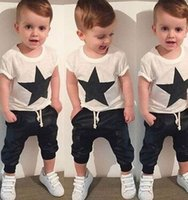 american leaders - Bear Leader Baby Clothing Sets Summer Style Baby Girls Boys Clothes Black Letter T shirt Imitation cowboy pants suit hight quality