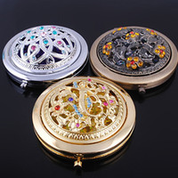 Wholesale 10pcs Women s Compact Mirrors mini portable Hollow out beautiful Compact Mirrors crystal Hollow out diamond Compact Mirrors