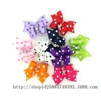 basic hair bows - 100pcs Handmade Rhinestone Dot Print Cute Pet Cat Dog Hair Bows Grooming Accessories Mixed Colorful Bows