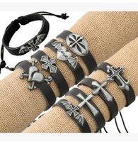 Wholesale Hot selling new leather bracelets many cross alloy