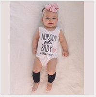 Wholesale Cute Baby Summer Rompers New Infant White Sleeveless Letters Printed Jumpsuits Toddler Cotton Romper Newborn One Piece Onesies