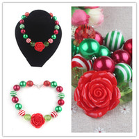 Wholesale Hot Selling Christmas chunky necklace Christmas bubblegum necklace Chunky Fresh Candy Color Necklace Girls Dress Up Necklace Jewelry