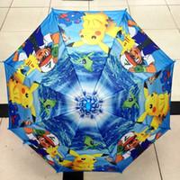 Wholesale New cm poke Umbrella Cartoon pikachu children Umbrella Kids Rain Gear E1298