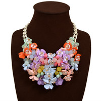 Cheap Girl's Crystal Flower Pendant Bib Necklace Exaggerated Box Chain Womens Gift Statement Choker Shourouk Necklace