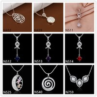 Wholesale Spiral Charm Necklace - Brand new women's gemstone sterling silver Pendant Necklace GTP32,oval spiral 925 silver Necklace(with chain) 8 pieces a lot mixed style