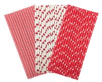 Wholesale Disposable Paper Straw Red Mix Pieces Wedding Party Birthday Decoration