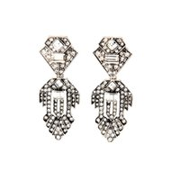 antique diamond stud earrings - 2016 Vintage Pave Leaf Earrings Diamond Shaped Studs with Rhinestone and Rectangle Crystal Charms Antique Silver for Lady
