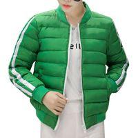 Wholesale Designer Winter Down Coats Women Jackets Harajuku Sport Warm Kpop Female Stripe Short Thicken Parka Overcoats