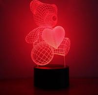 Wholesale Cartoon Cute Heart Bear Shape Acrylic LED Lamp D Baby Night Light Sleeping Lighting small table lamp