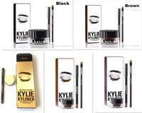Wholesale New Stock colors Kylie Cosmetics Kylie Kyliner In Black Brown with Eyeliner Gel pot Brush from uprise DHL Free