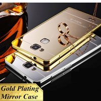aluminum alloy plates - Huawei Mate Luxury Gold Plating Aluminum Alloy Oxidation Frame Acrylic Back Cover For Huawei Ascend Mate Mate7 quot Mirror Case