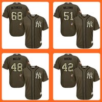bernie williams jersey - 2016 Yankees Dellin Betances Bernie Williams Andrew Miller Mariano Rivera Green Salute to Service Stitched Baseball Jersey