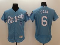 arrival cities - 6 Lorenzo Cain New Arrivals Men Kansas City Royals Jerseys Majestic Power Blue Flexbase Collection MLB Baseball Jerseys