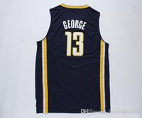Wholesale Paul George shirts Paul George Hickory shirts Throwback Basketball shirt Dark Blue Yellow Stitched Logos