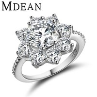 Wholesale MDEAN Plant White Gold plated wedding rings for women engagement cz diamond women rings Bague vintage bijoux accessories MSR311