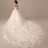 Wholesale 2016 wedding dresses Flowers large tail wedding dress Lasted design top quality Princess lace wedding dress