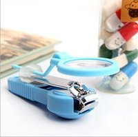 Wholesale 100pcs Magnifying glass nail clippers Stainless steel creative nail art finger children s old man present benefit freeshipping HY583