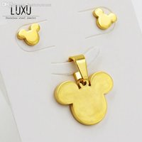 baby earrings bear - Adorable Bear Head Earrings And Pendant Jewelry Set For Baby Stainless Steel With K Gold Vacuum Plated T0059