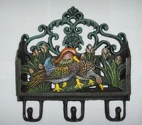Wholesale Vintage Wall Mount Cast Iron Painted Mandarin Duck Key and Mail Paper Letter Rack Holders with Hooks Rural New