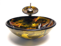 Wholesale Color hand painted circular basin Tempered Glass Vessel Sink With Faucet Set
