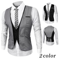 Wholesale 2016 New Arrival Mens Suit Vest V Neck Contrast Color Slim Fit Dress Vests for Men Back Strappy Waistcoat Chalecos Hombre