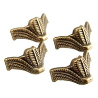 antique wooden leg - 4pcs Mini Antique Brass Vintage Bronze Jewelry Chest Gift Box Wooden Case Decorative Feet Leg Metal Corner Protector With Screws