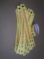 baseball seam bracelets - softball baseball sport bracelet actual baseball leather bracelet Yellow softball leather with red seams stitching