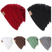 Wholesale Women Men Winter Knitted Cap Unisex Folds Casual CC labeling Beanies Hat Solid Color Hip Hop Skullies Beanie Hat Gorros