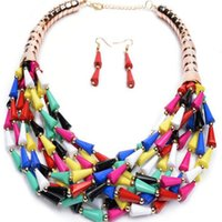 fashion beaded earrings - European and American foreign trade Bohemian fashion candy color Flower Beaded Necklace Earrings multi drop hot women jewelry trade