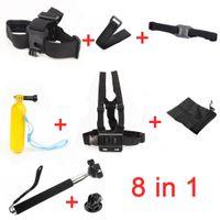 Wholesale GoPro Accessories Set Gopro Remote Wrist Strap Helmet Extention Kits Mount Chest Belt Mount Bobber For Gopro hero4