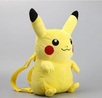 Wholesale cm D Anime Pikachu Plush Backpack Cute Stuffed Soft Dolls Kids Christmas Gift Cartoon Baby Snack Bags School Bags