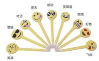 Wholesale PrettyBaby emoji plush creative ballpoint pen Lovers Gifts Plush Cotton Small Emoji Pillow for office and school QQ face pen