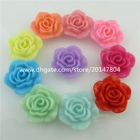 Wholesale 30pcs mm Candy Plastic Acrylic Flower Rose Spacer Beads Charms Findings
