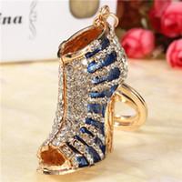 acrylic high heels - Best Gift Fashion Design Blue Shoe Female High Heel Charm Lovely Crystal Purse Bag Keyring Key Chain