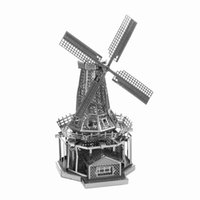 Wholesale DIY D Puzzle Metal Assembled Windmill World s Famous Building Landmark Model Jigsaws Children s Favorite Best Toys Gift
