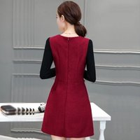 adult woolen cloth - In the spring of the new long cloth dress woman A word han edition v neck woolen cloth render big yards cultivate one s morality dress