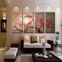 Wholesale hand painted pink tree flower oil painting on canvas sakura blooming Cherry blossom chinese japan wall pictures for living room