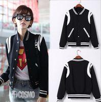 baseballs wool jacket - During fall ladies fashion luxury type of cultivate one s morality long sleeved baseball uniform cloth coat jacket