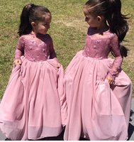 Wholesale A Line Long Sleeves Lace Flower Girls Dresses Floor Length Girls Pageant Wedding Party Dresses Formal Wears