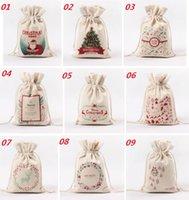 bamboo sack - Christmas Canvas Monogrammable Santa Claus Drawstring Bag With Reindeers Monogramable Christmas Gifts Sack Bags