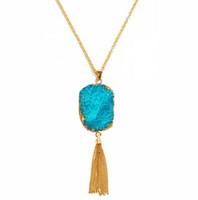 druzy jewelry - Fashion Gold Chain Tassel Druzy Boho Stone Pendants Long Necklace For Women Girl Jewelry China