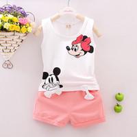 Cheap 2016 New kids girls Lovely Mickey Mouse Minnie Clothing Sets Cheap Summer Kids Children Baby Wear Kid Veat T shirt Shorts Suit Set Children