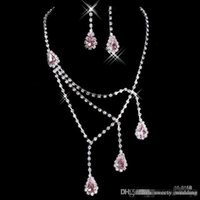 anchor earrings - Shinning Rhinestone Pink Lady Necklace Earring Sets Bridal Accessories Jewelry for Wedding Party Evening Prom In Stock Cheap B