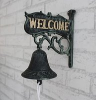 antique cast iron bell - Antique Cast Iron WELCOME Dinner Bell Wall Mounted Home Store Wall Decor Bell Garden Yard Door Metal Crafts Gift