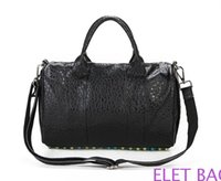 Wholesale Europe and the United States of big shop sign with black rivet Boston bag full leather women s shoulder bag