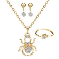 Wholesale Fashion women jewelry sets Necklace Earrings Ring diamond encrusted Spider Pendant necklaces For bridesmaid jewelry sets