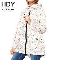 autumn parker - HDY Haoduoyi Women Fashion Autumn Arrows Print Long Sleeve Hooded Parker Coat Casual Zipper Tie Back Split Loose Coat
